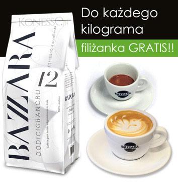 Kawa ziarnista Bazzara Espresso Top12 Gran Cru/DODICIGRANRU 1kg +filiżanka