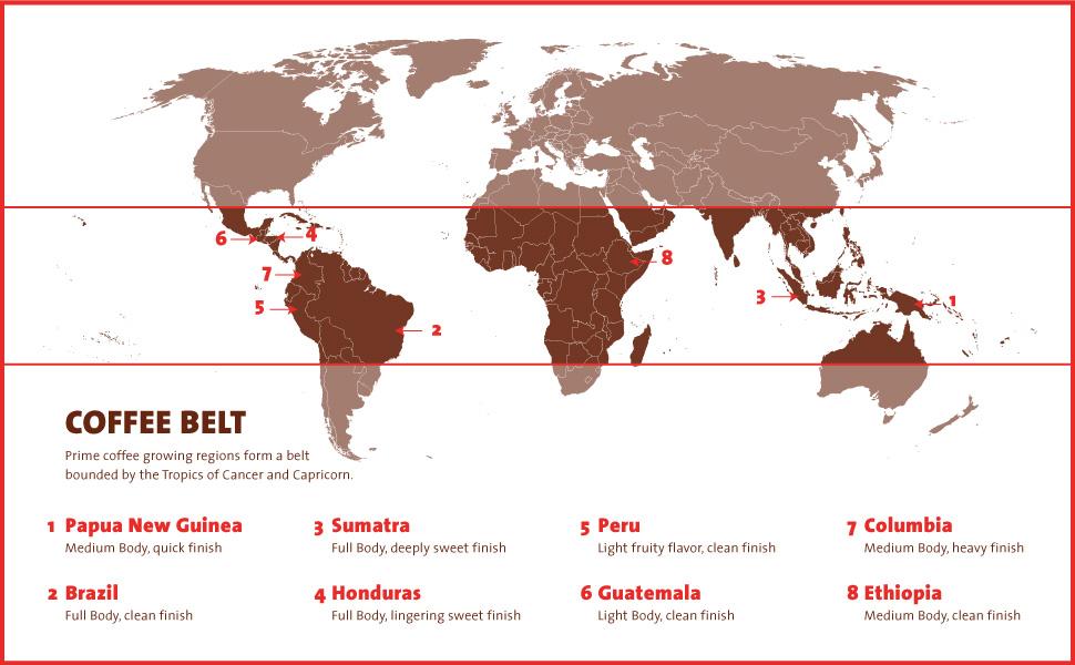 Coffee belt, czyli miejsca uprawy kawowca